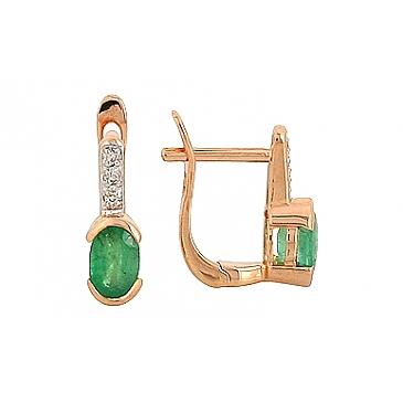 Серьги с бриллиантом и изумрудом из красного золота 69118
