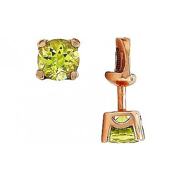 Пуссеты с хризолитом из красного золота 51698 от EVORA