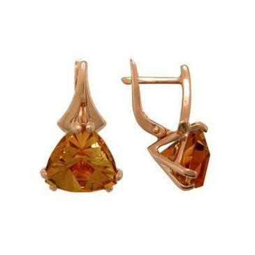 серьги c раухтопазами из красного золота 1080010257
