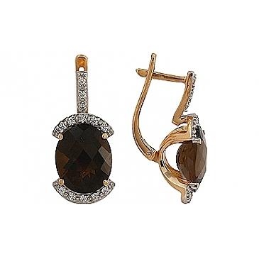 Серьги с раухтопазом и фианитом из красного золота 85745 от EVORA