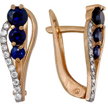серьги c сапфирами и бриллиантами из красного золота 1850212422