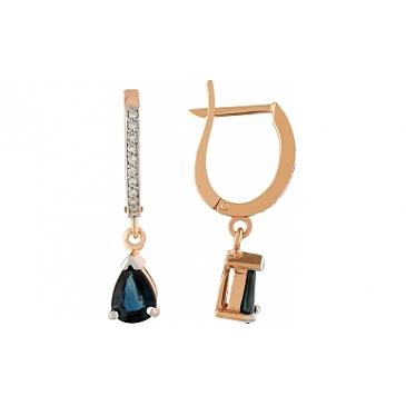 Серьги с бриллиантами и сапфиром из красного золота 111689