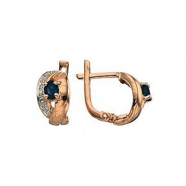 Серьги с бриллиантами и сапфиром из красного золота 3517