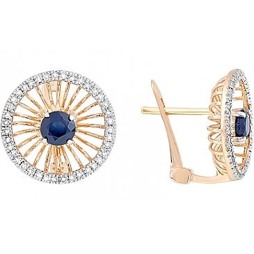 Серьги с бриллиантом и сапфиром из красного золота 113863