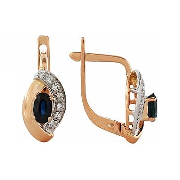Серьги с бриллиантом и сапфиром из красного золота 99127