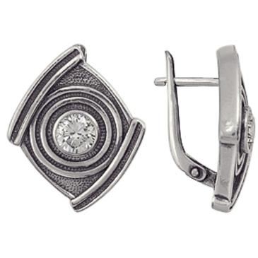 серьги c фианитами из серебра 3201012261