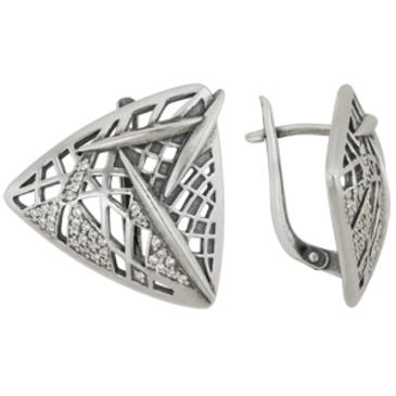 серьги c фианитами из серебра 3201012026