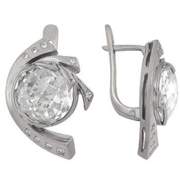 серьги c фианитами из серебра 2R02557