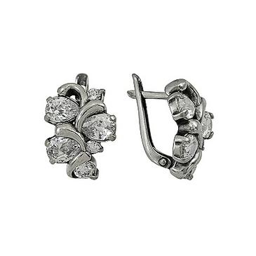 серьги c фианитами из серебра 3201011868
