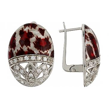 Серьги с эмалью и фианитами из серебра 106158