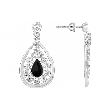 Серьги с фианитом и эмалью из серебра 115224