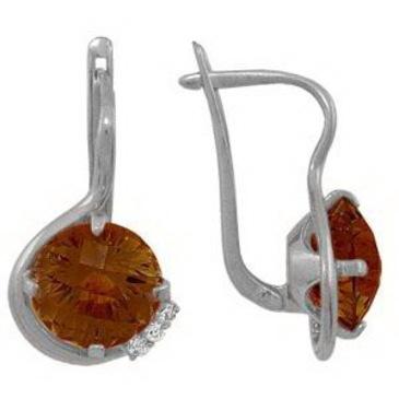 серьги c раухтопазами из серебра 3790010339 от EVORA