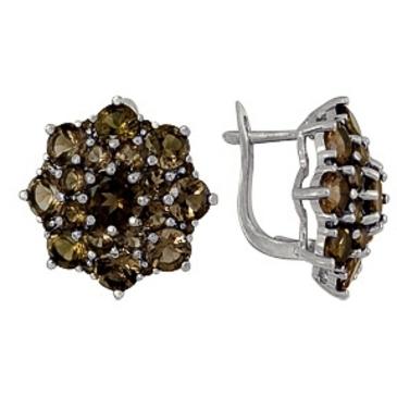 серьги c раухтопазами из серебра 3087013109 от EVORA