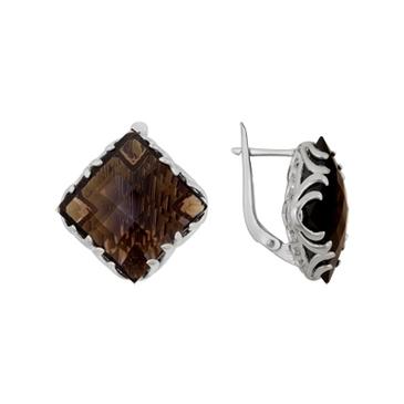 серьги c раухтопазами из серебра 3087012074 от EVORA