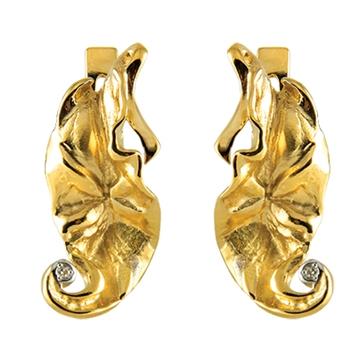 Серьги 'БЛЮЗ' из желтого золота С-14050
