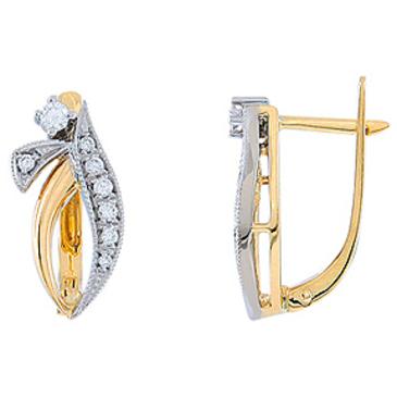 серьги c бриллиантами из желтого золота 24033602