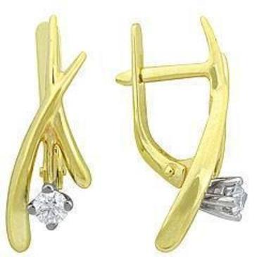 серьги c бриллиантами из желтого золота 24032410