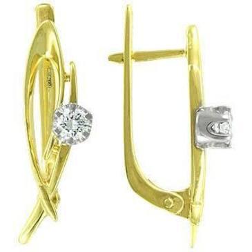 серьги c бриллиантами из желтого золота 24032873