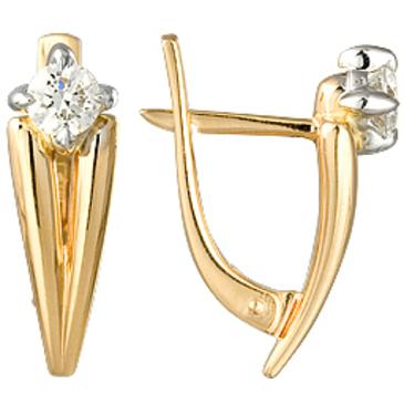 серьги c бриллиантами из желтого золота 24037581-1