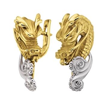 Серьги 'ДРАКОН' с бриллиантами из желтого золота С-24049