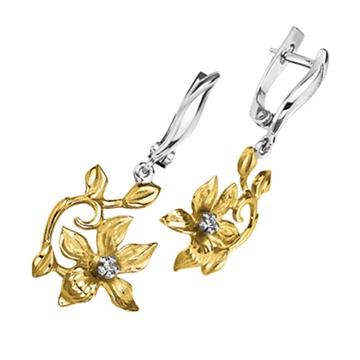 Серьги 'ЭДЕЛЬВЕЙС' с бриллиантами из желтого золота С-14047