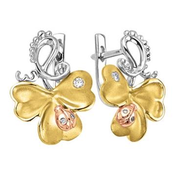 Серьги КЛЕВЕР с божьими коровками и бриллиантами из желтого золота С-14040