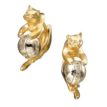 Серьги Кошки из желтого золота С-24030