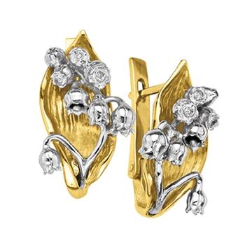 Серьги 'ЛЕСНОЙ ЛАНДЫШ' с бриллиантами из желтого золота С-14048