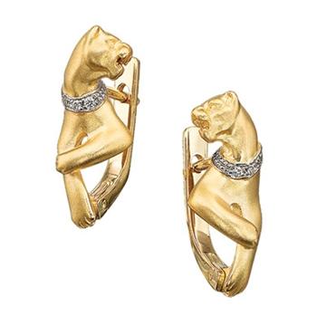 Серьги 'ПУМА' в ошейнике с бриллиантами из желтого золота С-24032