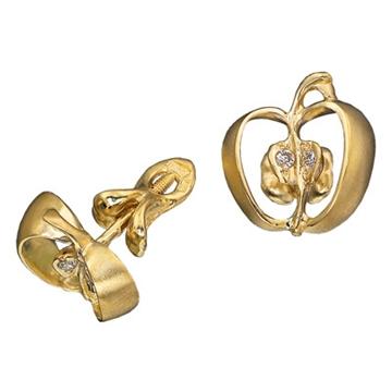 Серьги Райские яблочки с бриллиантами из желтого золота С-11013