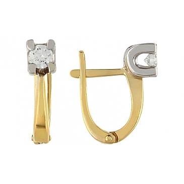 Серьги с бриллиантами из желтого золота 96936