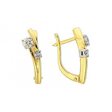Серьги с бриллиантами из желтого золота 102595