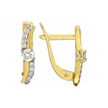 Серьги с бриллиантами из желтого золота 112453