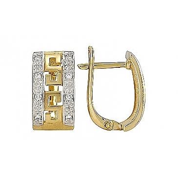 Серьги с бриллиантами из желтого золота 72653 от EVORA