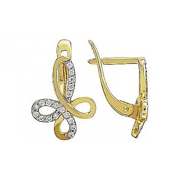 Серьги с бриллиантами из желтого золота 76859