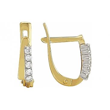 Серьги с бриллиантами из желтого золота 96353