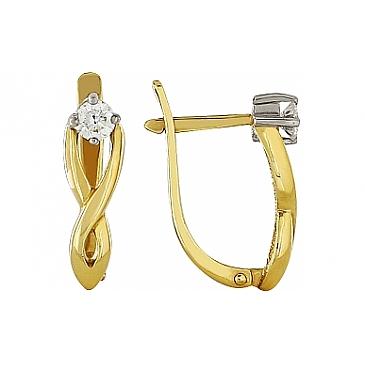 Серьги с бриллиантами из желтого золота 98555