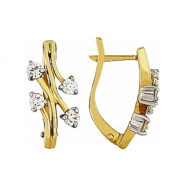 Серьги с бриллиантами из желтого золота 100168