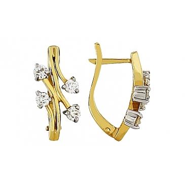 Серьги с бриллиантами из желтого золота 83676