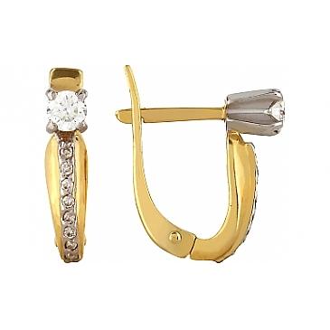 Серьги с бриллиантами из желтого золота 103388