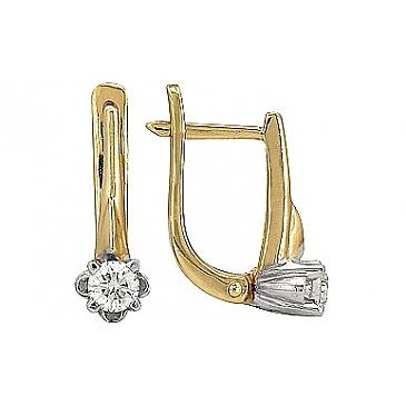 Серьги с бриллиантом из желтого золота 38374