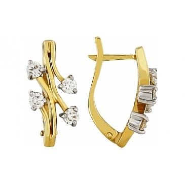 Серьги с бриллиантом из желтого золота 112454