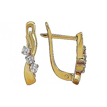 Серьги с бриллиантом из желтого золота 76901