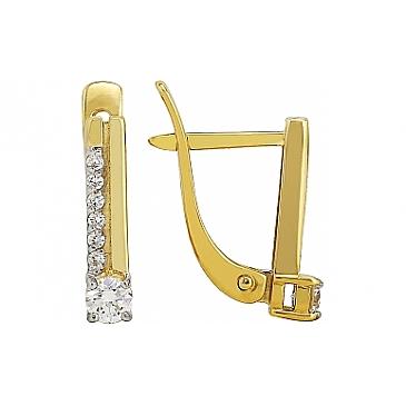 Серьги с бриллиантом из желтого золота 96050