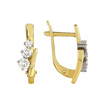 Серьги с бриллиантом из желтого золота 102371