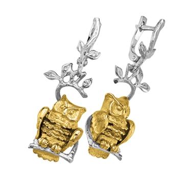 Серьги с совами КОРОЛЕВА НОЧИ с бриллиантами из желтого золота С-24029