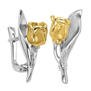 Серьги 'ТЮЛЬПАН' с бриллиантами из желтого золота С-14039