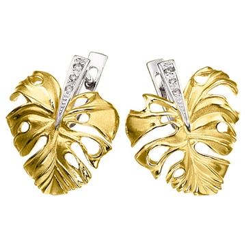 Серьги 'ТРОПИКАНА' с бриллиантами из желтого золота С-14036
