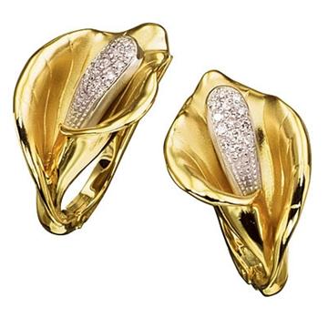 Золотые серьги 'Кала' с бриллиантами из желтого золота С-14021