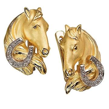 Золотые серьги Лошади с бриллиантами из желтого золота С-24035